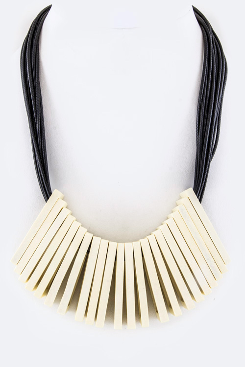 Wooden Square Hoops Statement Necklace