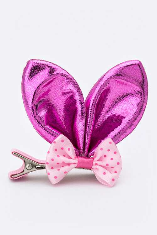 Polka Dots Bow & Satin Bunny Ear Hair Clip