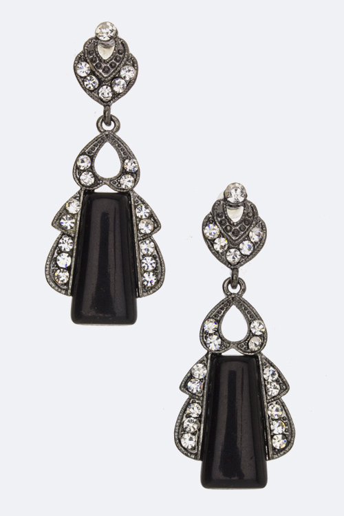 Crystal & Trapezoid Stone Earrings
