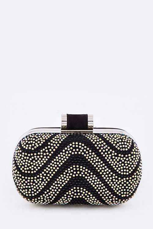 Wavy Pattern Pave Crystal Box Clutch