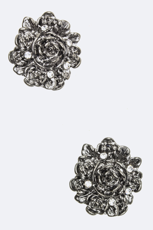 Crystal Rose Stud Earrings
