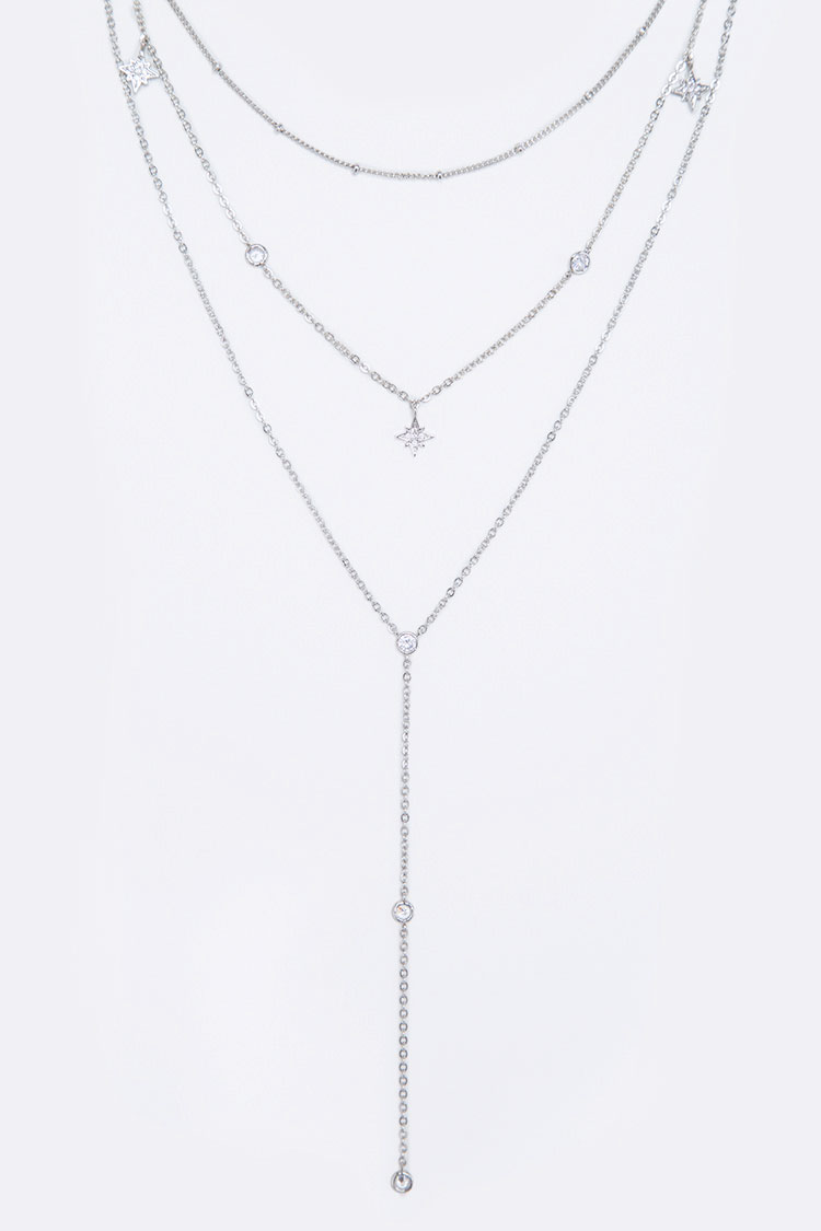 CZ Stars Layered Chain Necklace