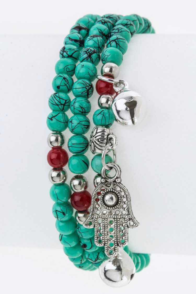 Mix Beads & Hamsa Charm Stretch Wrapped Bracelet