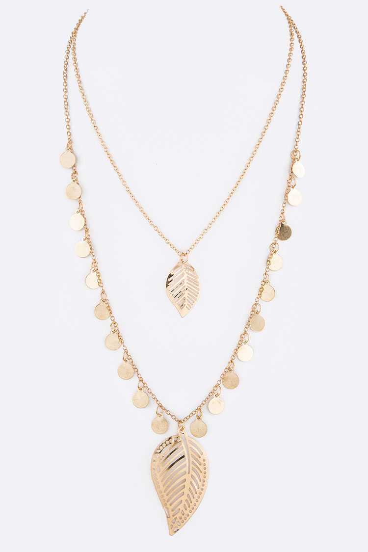 Leaf Filigree Fringe Disk Layer Necklace