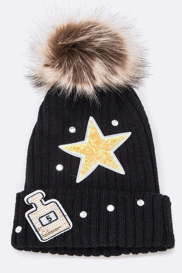 Mix Patches Iconic Fur Pom Beanie