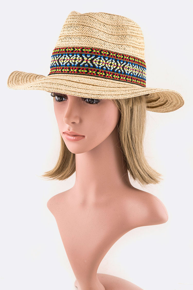 Iconic Wide Band Fashion Straw Hat