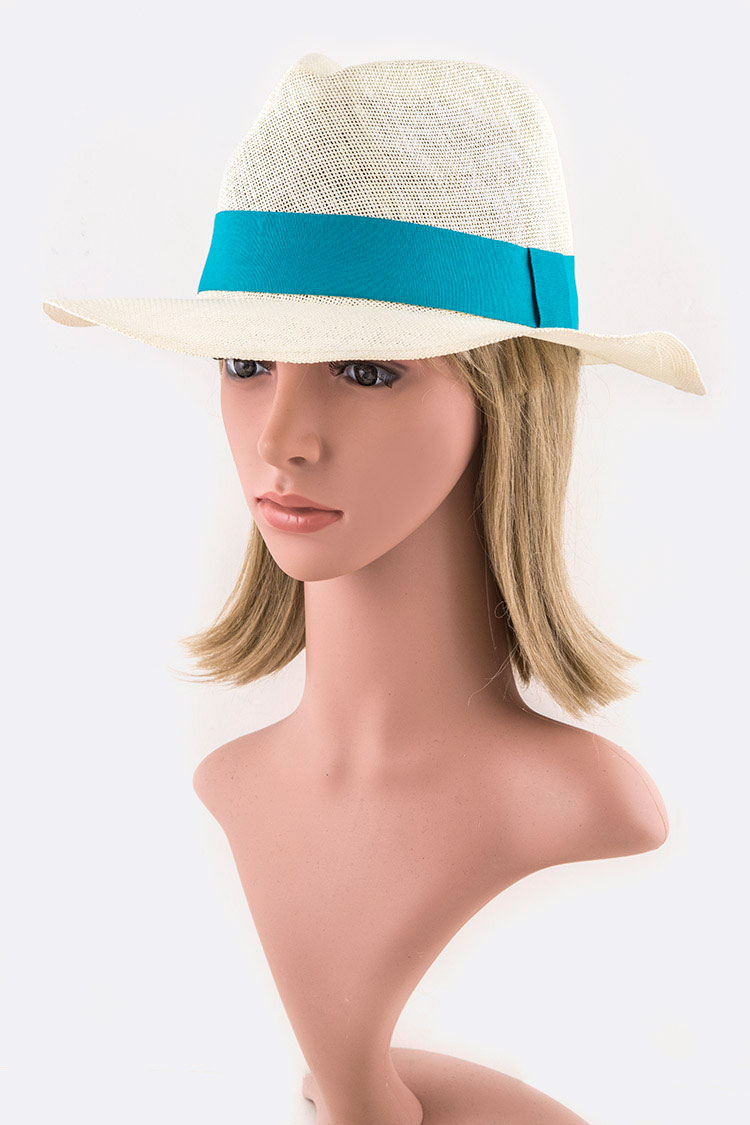 Contrast Band Straw Panama Hat