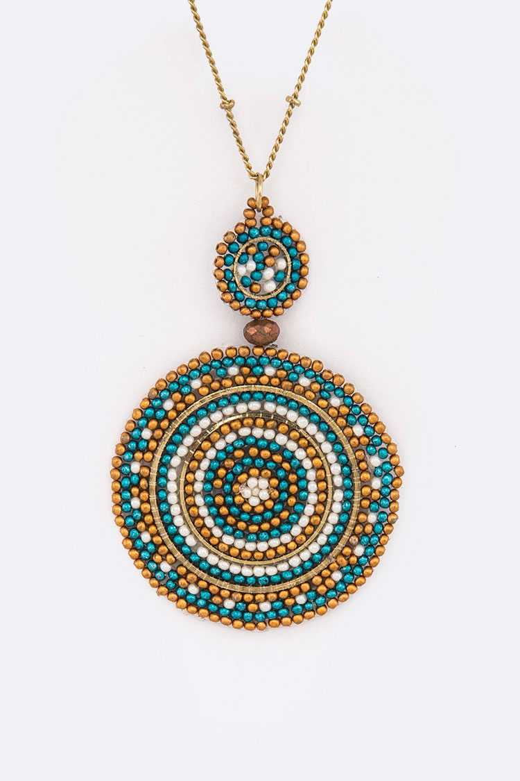 Beaded Pattern Pendant Long Necklace