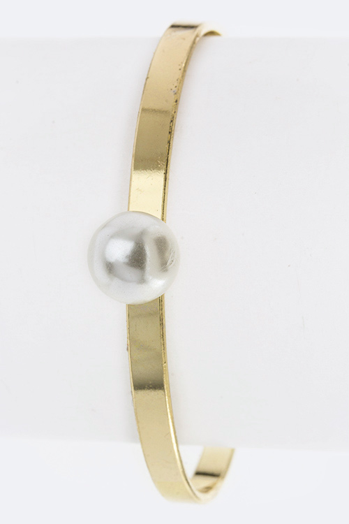 Pearl Skinny Open Bangle