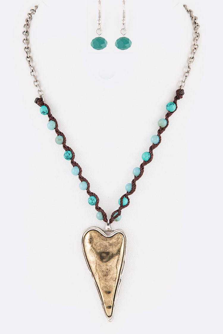 Puff 2 Tone Heart Beaded Necklace Set