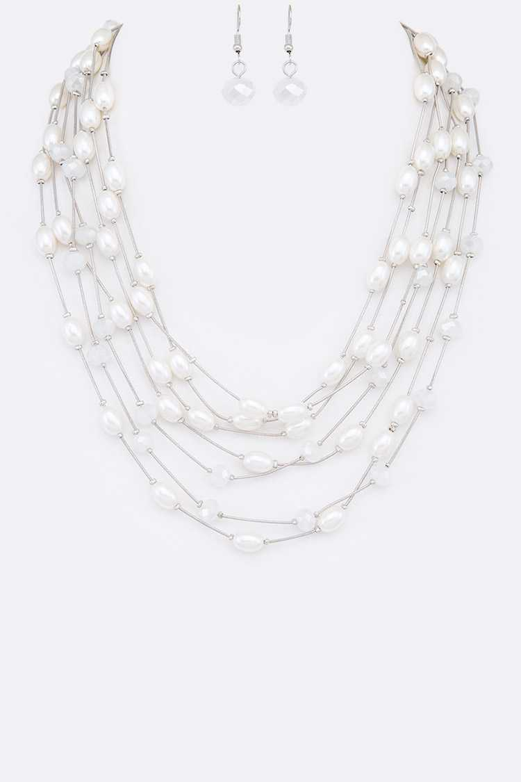 Mix Pearl Station Layer Necklace Set