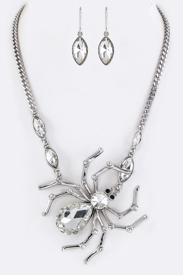 Crystal Spider Charm Necklace Set