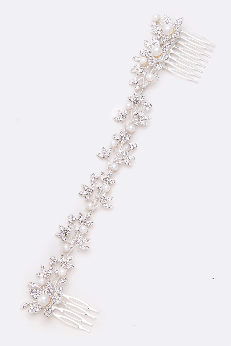 Crystal Pearl Bridal Head Piece With Combs