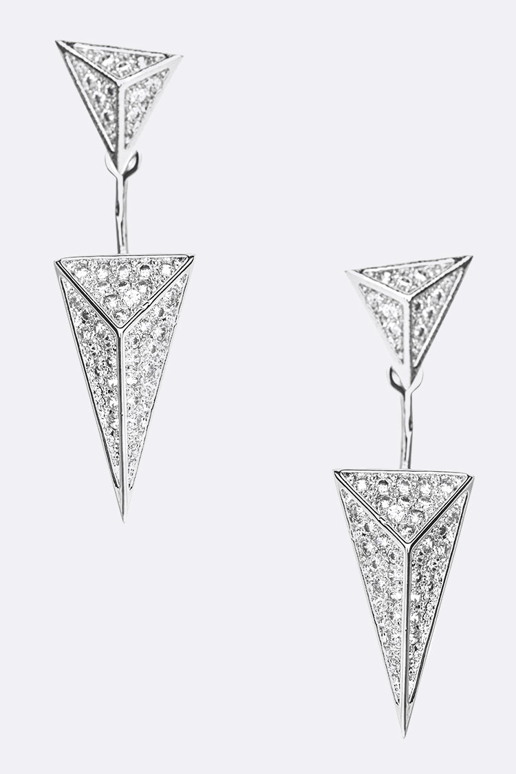 CZ Front & Back Pyramid Drop Earrings