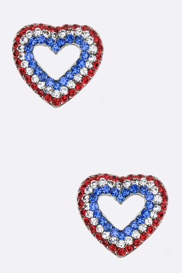 Crystal Pave Heart Studs