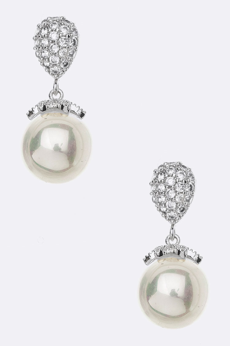 CZ Pear Shape Pearl Drop Earrings