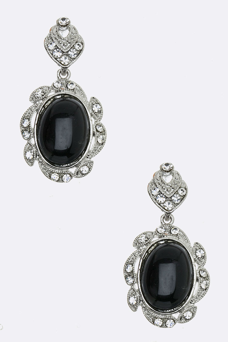Onyx Crystal Dangle Earrings