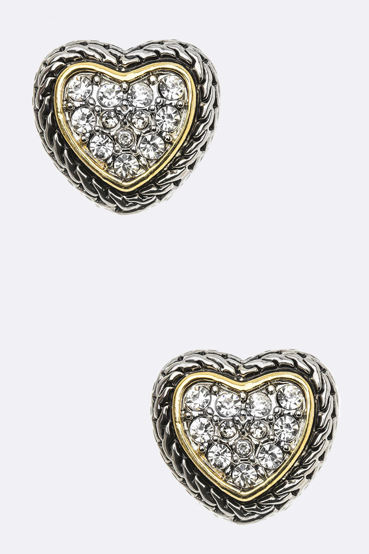 Designed 2 Tone Heart Post Earring
