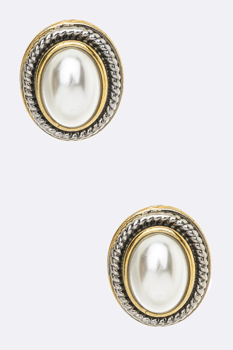 2 Tone Texture Pearl Stud Earrings