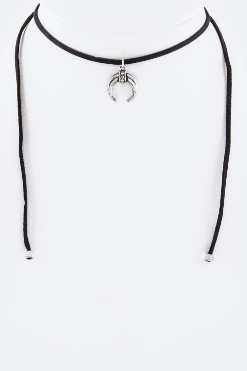 Crystal & Metal Horn Drawstring Choker Necklace