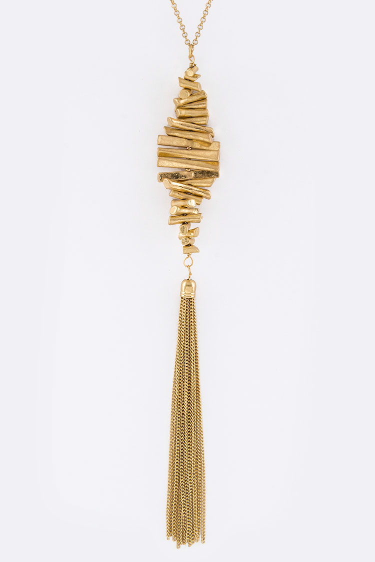 Metal Bars & Tassel Pendant Necklace
