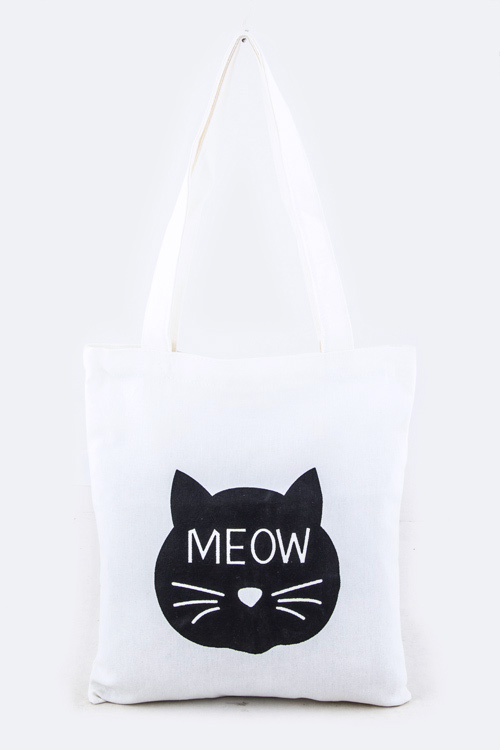 MEOW Comic Cat Cotton Canvas Tote