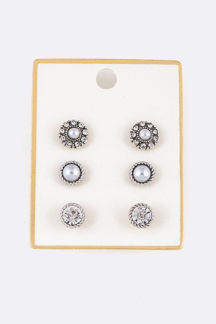 Crystal & Pearl Mix Stud Earring Set