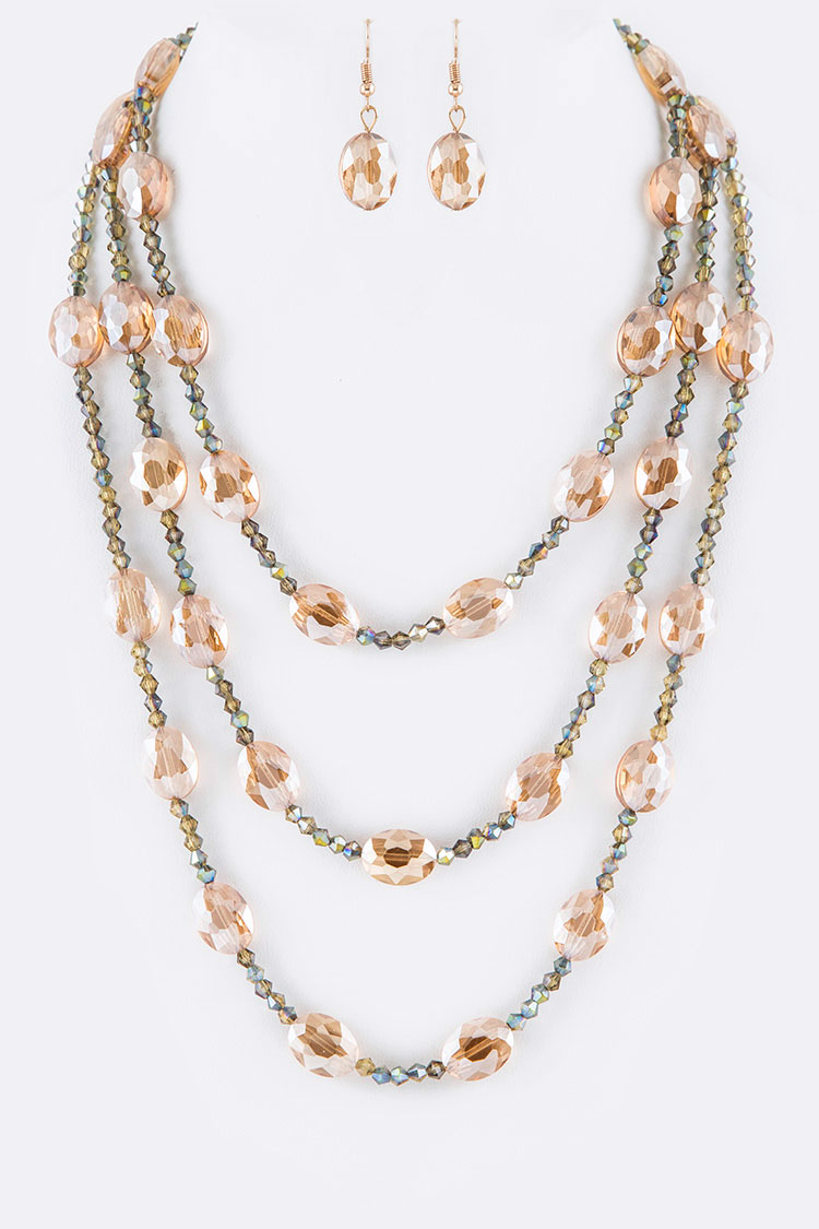 Crystal Layered Iconic Necklace Set