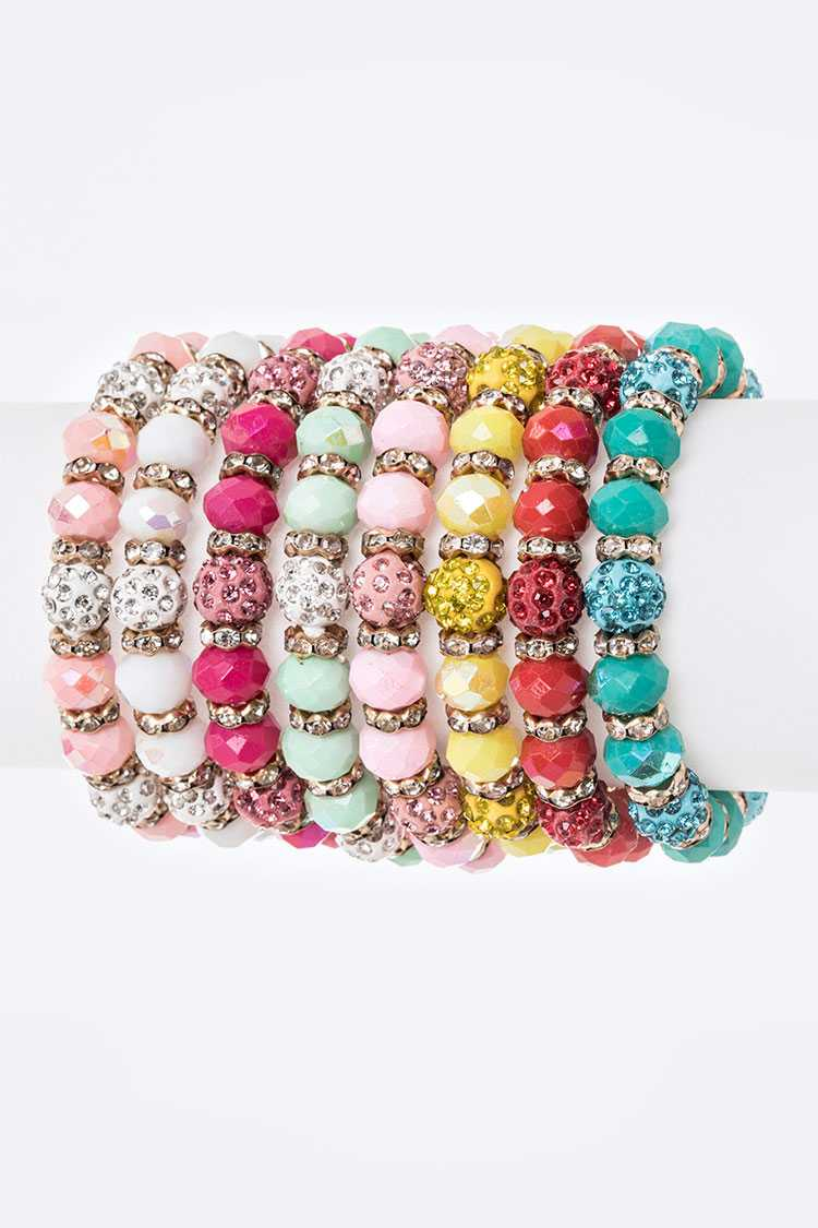 Mix Crystal Beads Stretch Bracelet Set