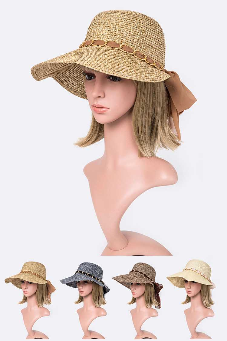 Laced Chiffon Bow Straw Sun Hat