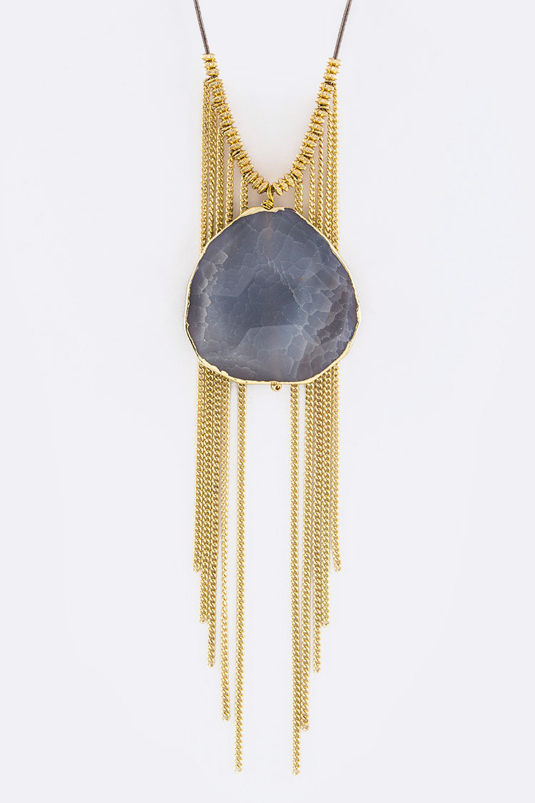 Stone & Layer Chains Necklace