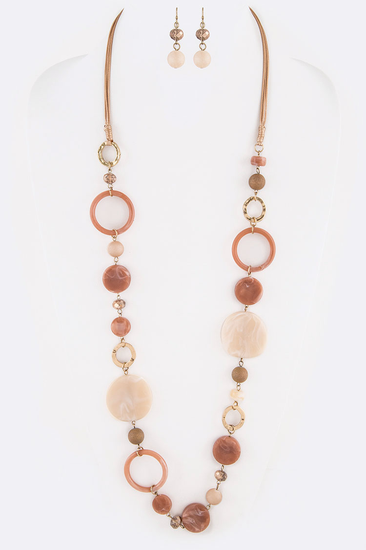Mix Ring Station Long Necklace Set