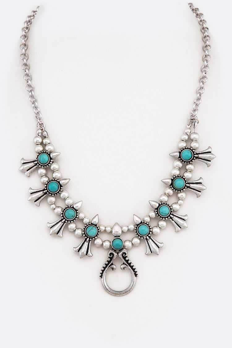 Turquoise Squash Blossom Collar Necklace