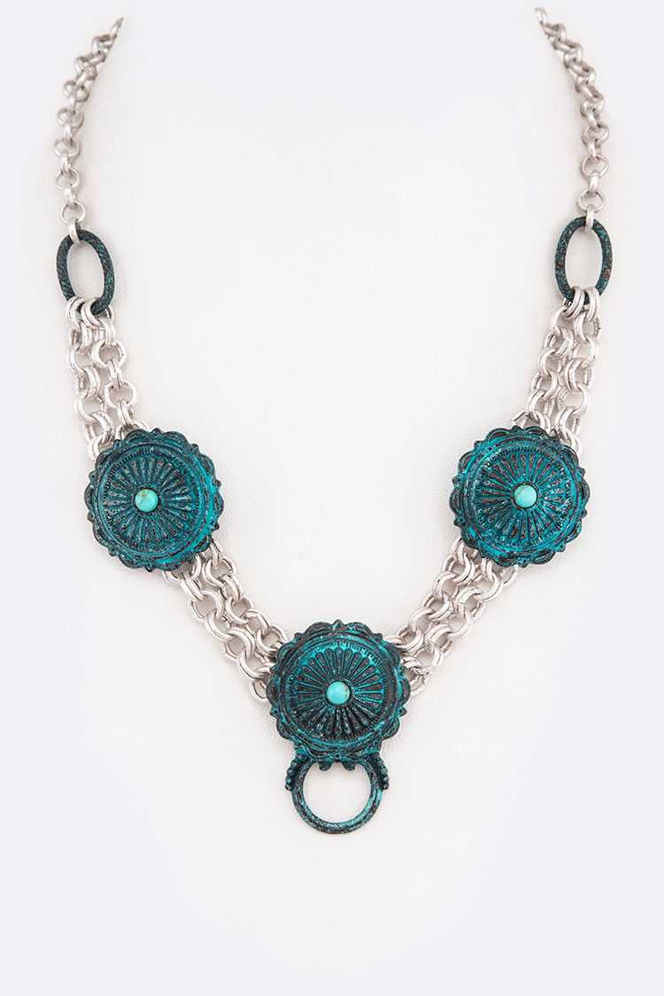 Patina Distressed Concho Pendant Western Necklace