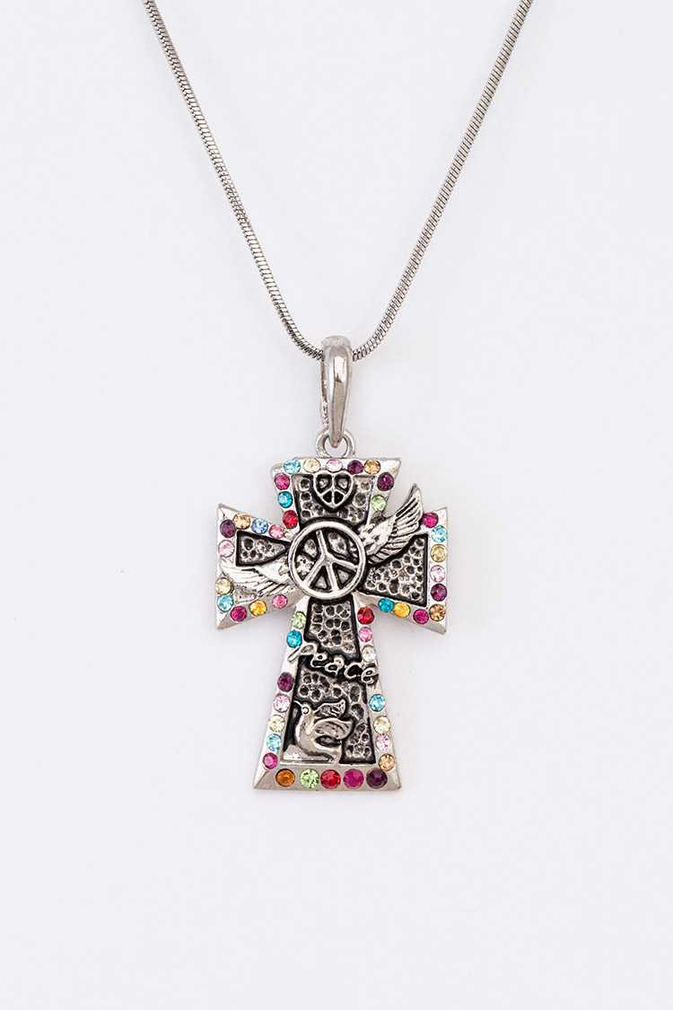 Peace Sign Cross Wing Pendant Necklace