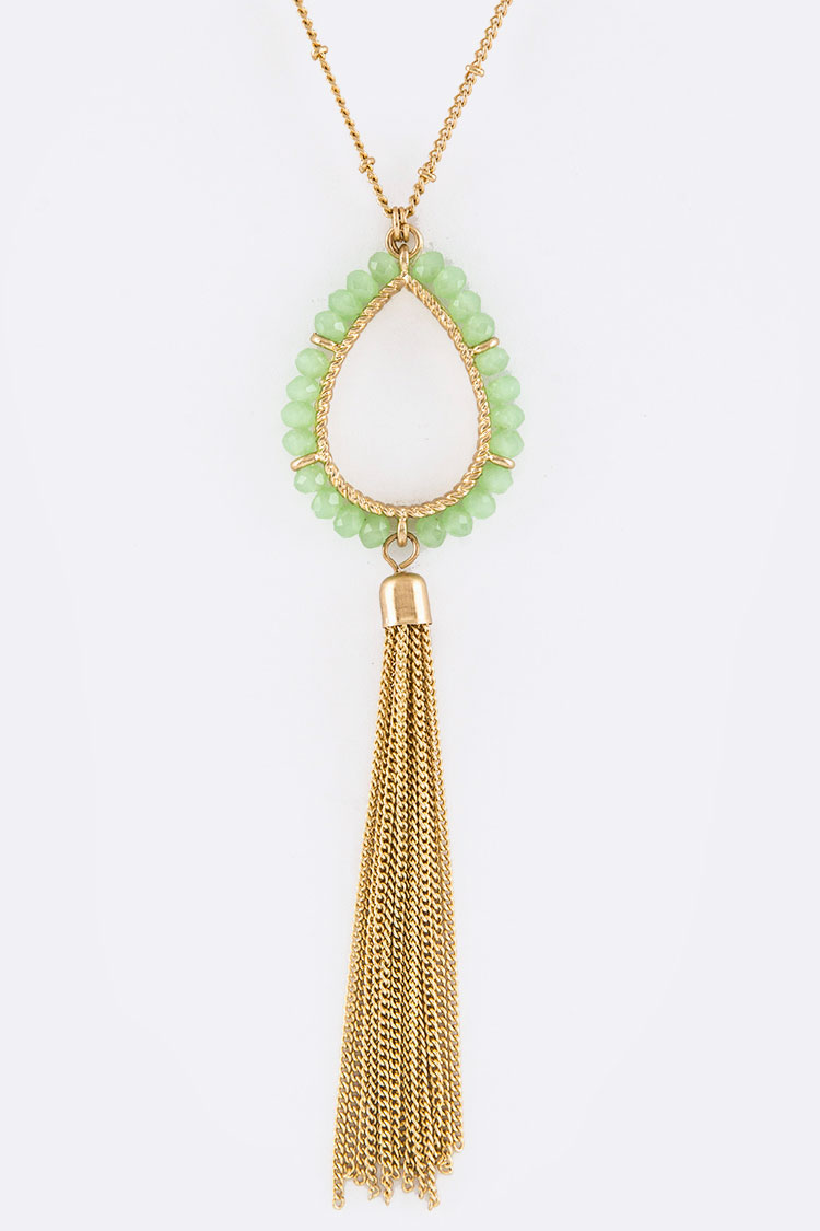 Beaded Teardrop & Tassel Pendant Necklace