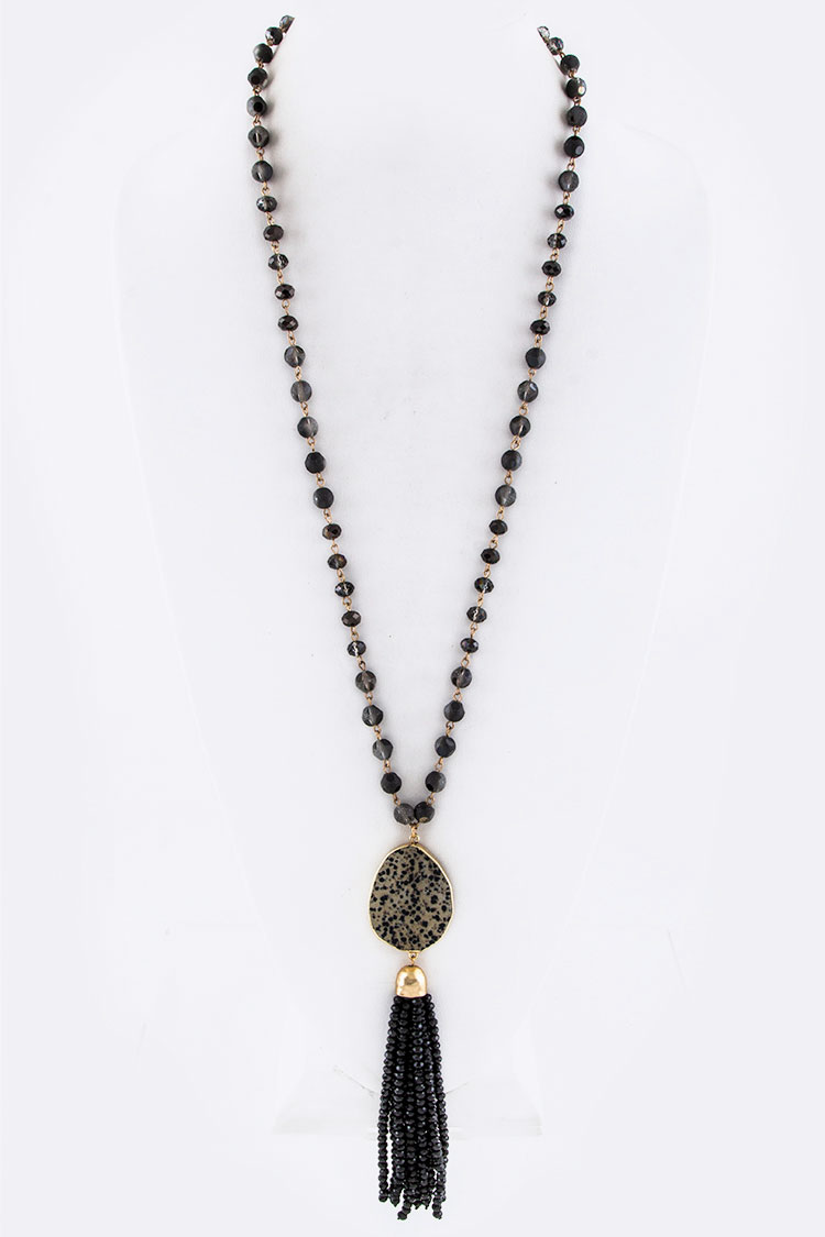 Stone Teardrop & Bead Tassel Necklace