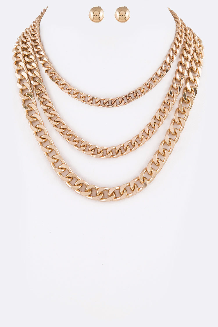 Chunky Cuban Chain Layered Necklace Set