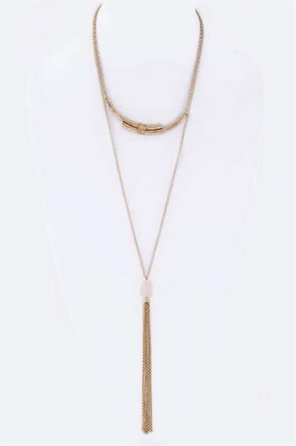Stone Teardrop Tassel Necklace