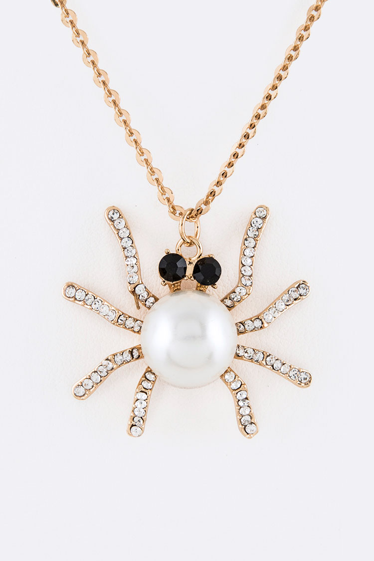 Pearl & Crystal Iconic Spider Pendant Necklace
