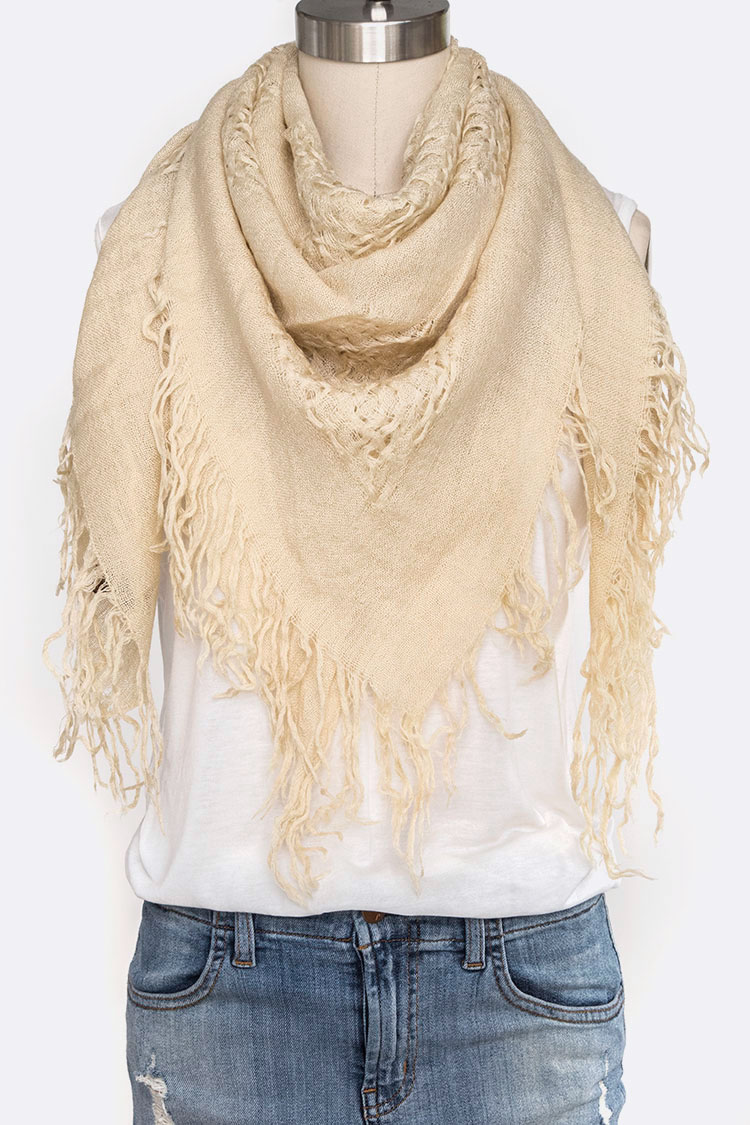 Fringed Wool Blend Square Scarf