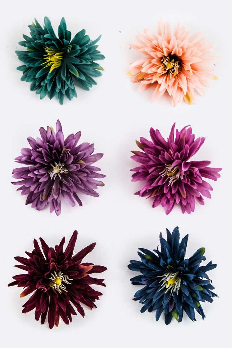 Assorted Color Flower Hair Clips Set