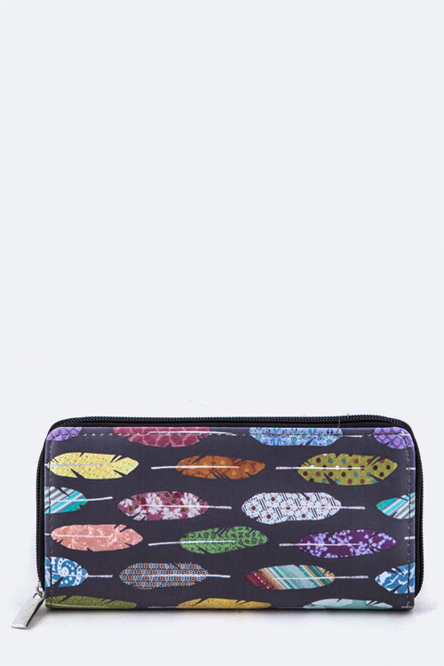 Feathers Pattern Zipper Wallet