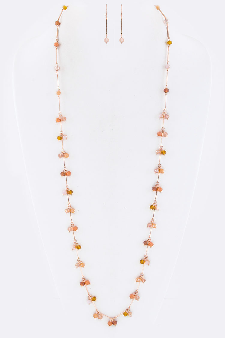Fringe Beads Stationed Necklace Set