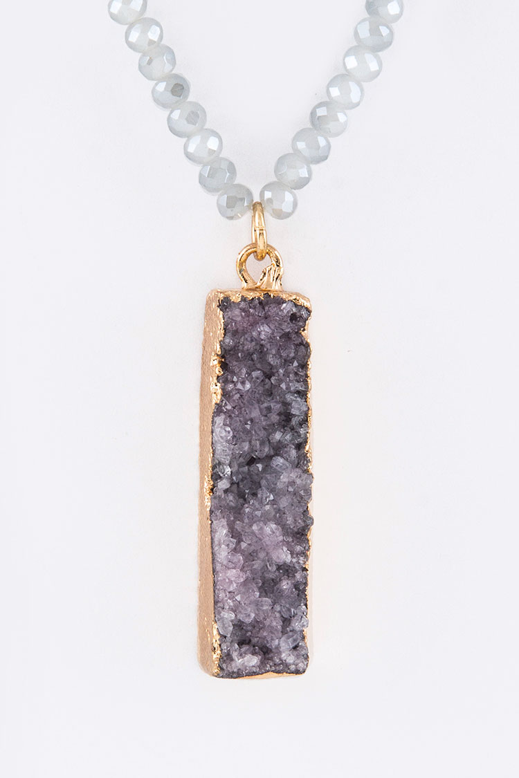 Druzy Bar Pendant Necklace Set