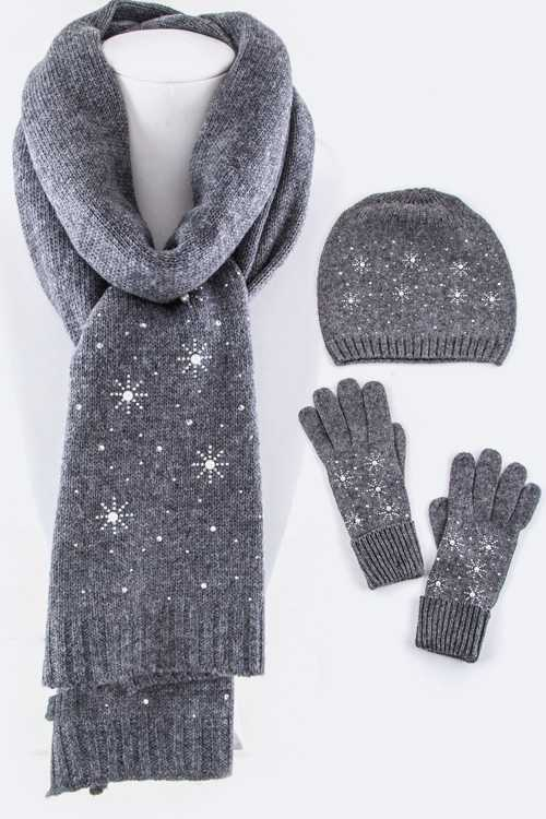 Wool Blend Holiday Scarf, Hat & Gloves Gift Set