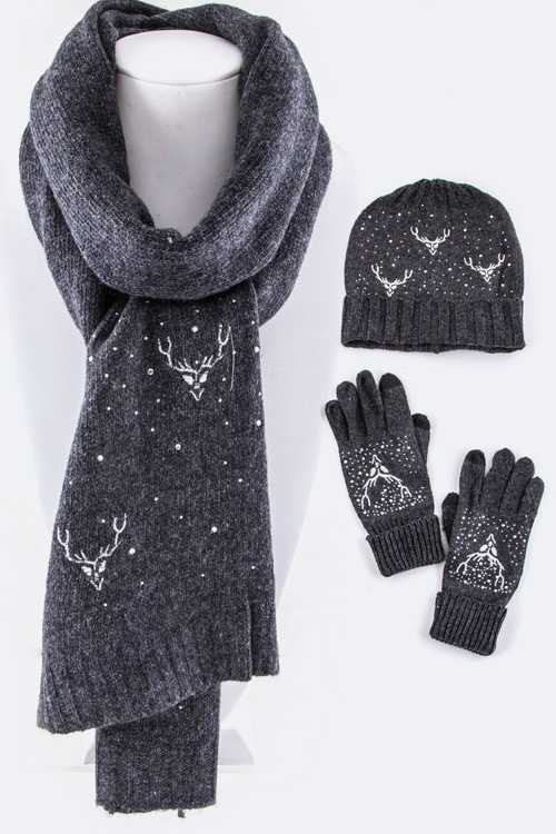 Reindeer Wool Blend Scarf, Hat & Gloves Gift Set