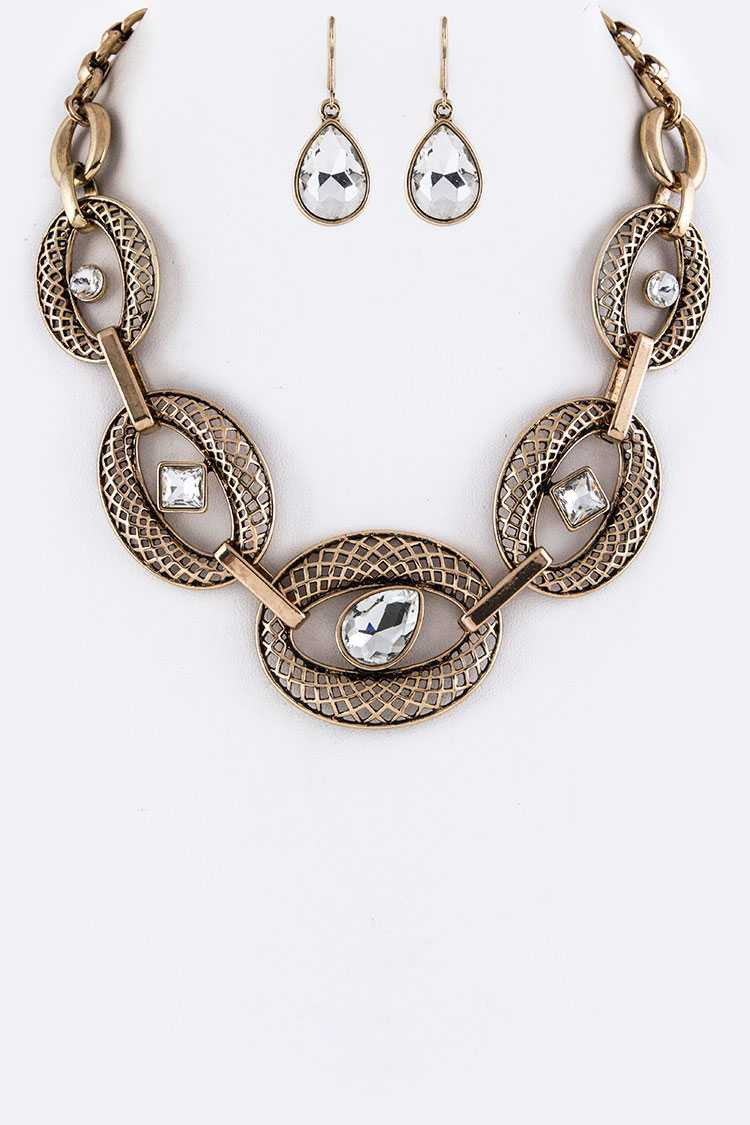 Hinged Laser Cut Hoop & Mix Crystals Necklace Set
