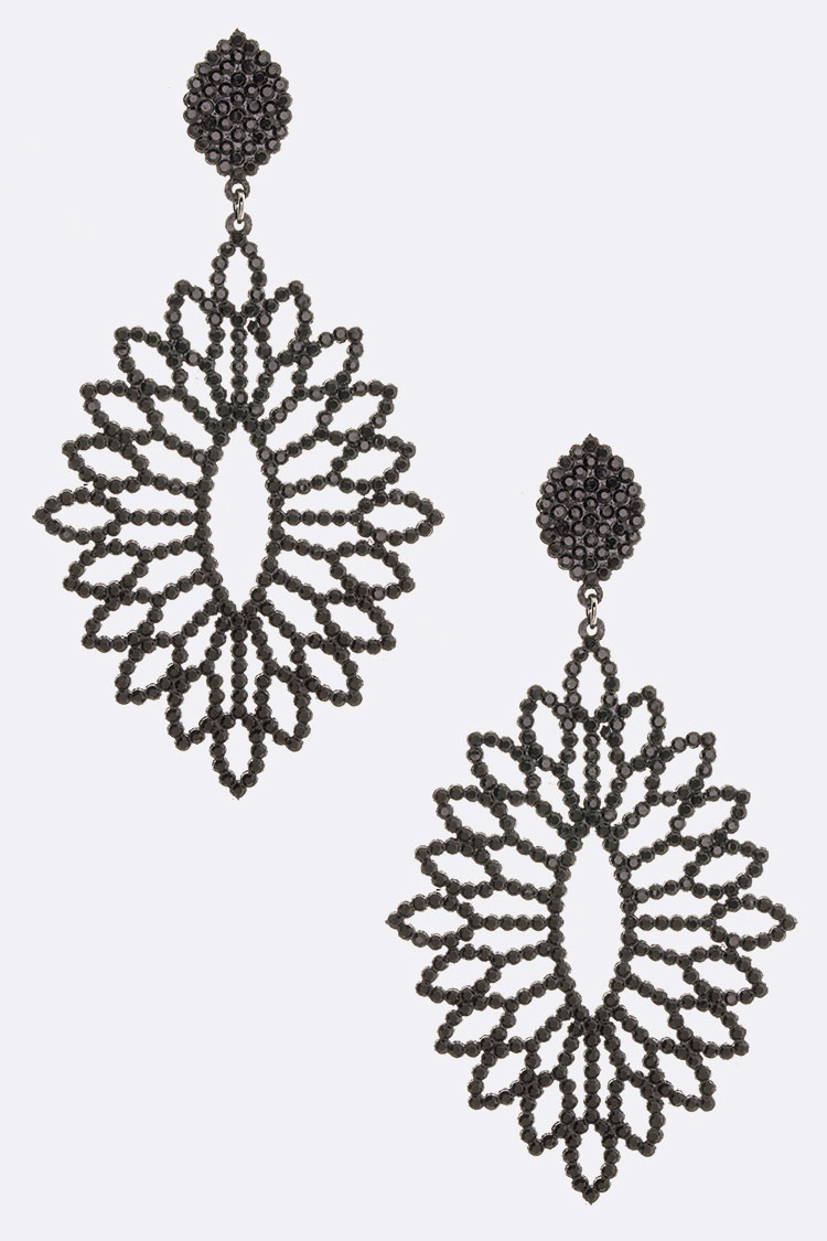 Iconic Large Crystal Pave Laser Cut Sueded Earrings