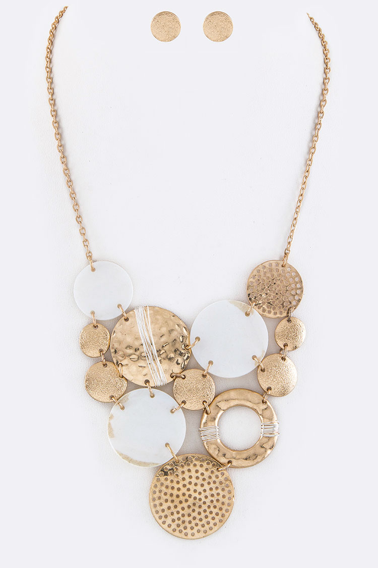 Mix Shell Disks Statement Necklace Set